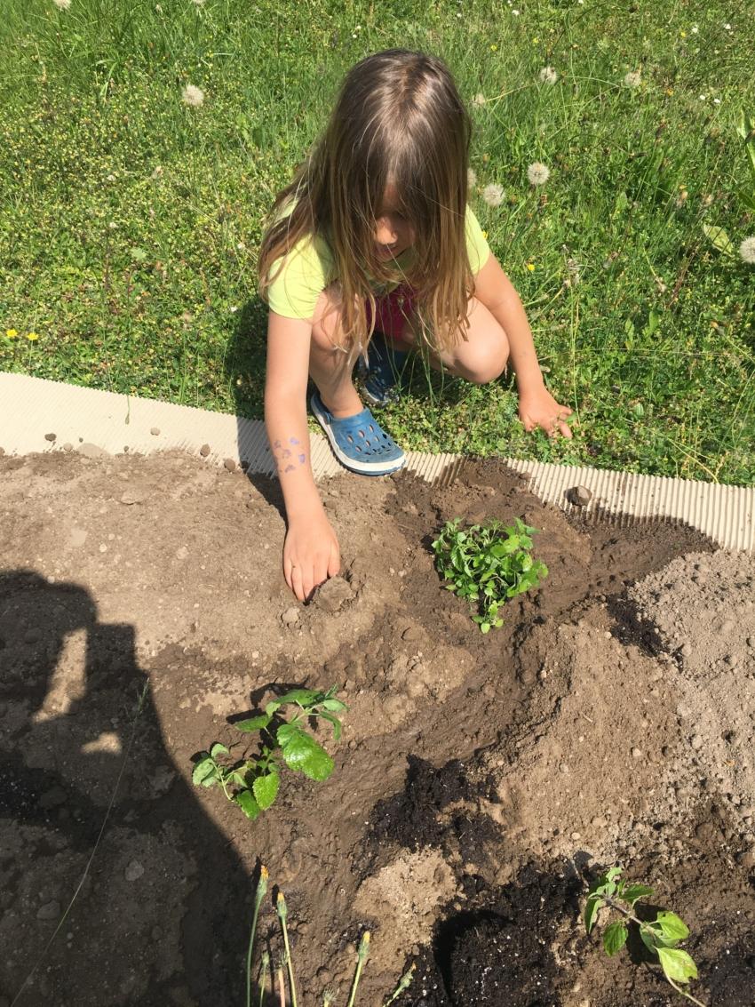 Mädchen gärtnert in der Gartenfabrik